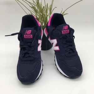 New Balance 500 in black and pink for women's-7.5